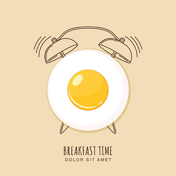 fried egg and outline alarm clock, vector illustration of breakfast. - breakfast stock illustrations
