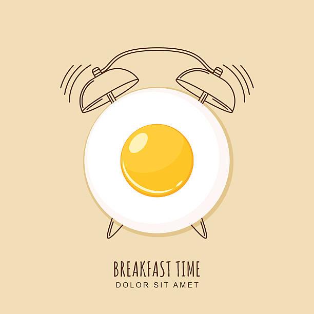 stockillustraties, clipart, cartoons en iconen met fried egg and outline alarm clock, vector illustration of breakfast. - breakfast