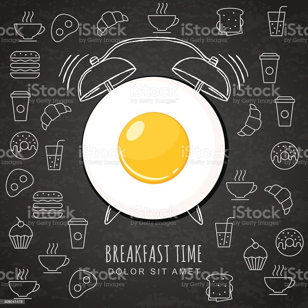 Fried egg and watercolor alarm clock on black board background. vector art illustration