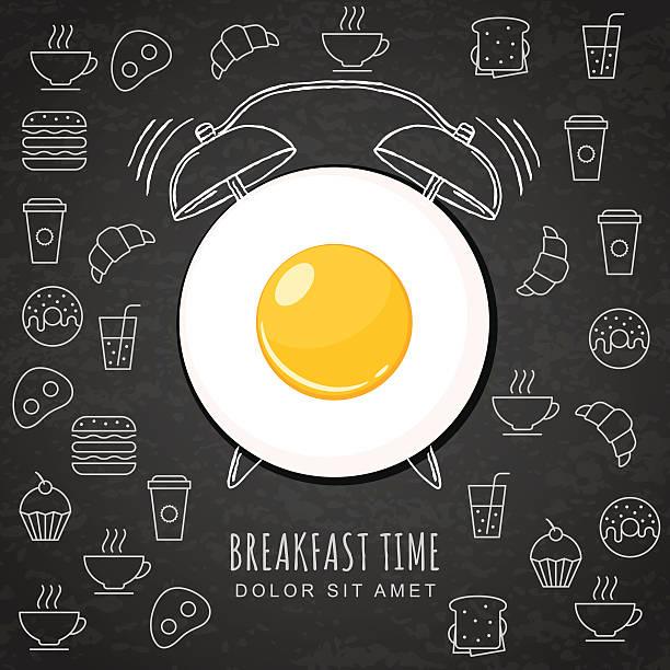 Fried egg and watercolor alarm clock on black board background. vector art illustration
