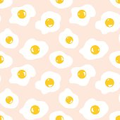 Seamless pattern with scrambled eggs