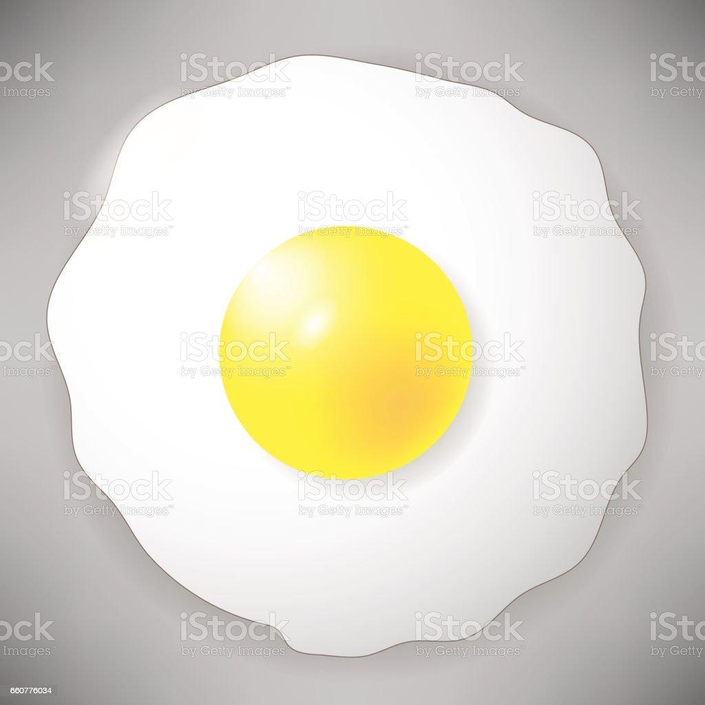 Ícone de ovo frito isolada em cinza. Vista superior - ilustração de arte em vetor