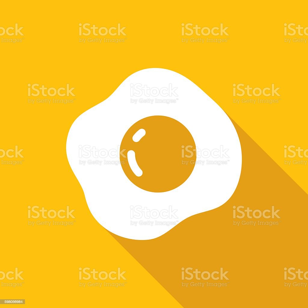 Fried Egg Icon White vector art illustration