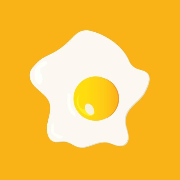 gebratenes ei abbildung in einem flachen cartoon-stil gemacht. gebratenes huhn ei isoliert auf einem gelben hintergrund. - spiegelei stock-grafiken, -clipart, -cartoons und -symbole