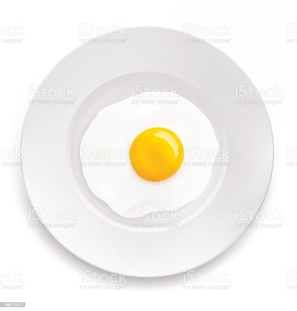 Fried egg on a plate. Vector illustration vector art illustration