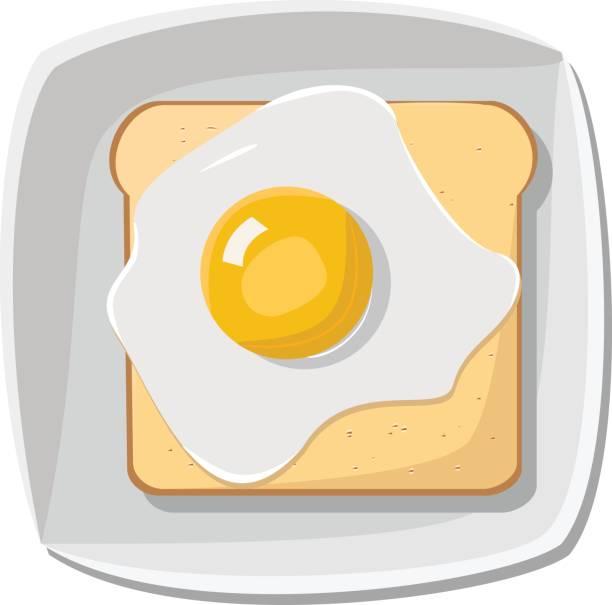 fried egg on bread - spiegelei stock-grafiken, -clipart, -cartoons und -symbole