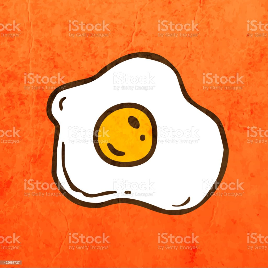 Fried Egg on Grunge Background vector art illustration