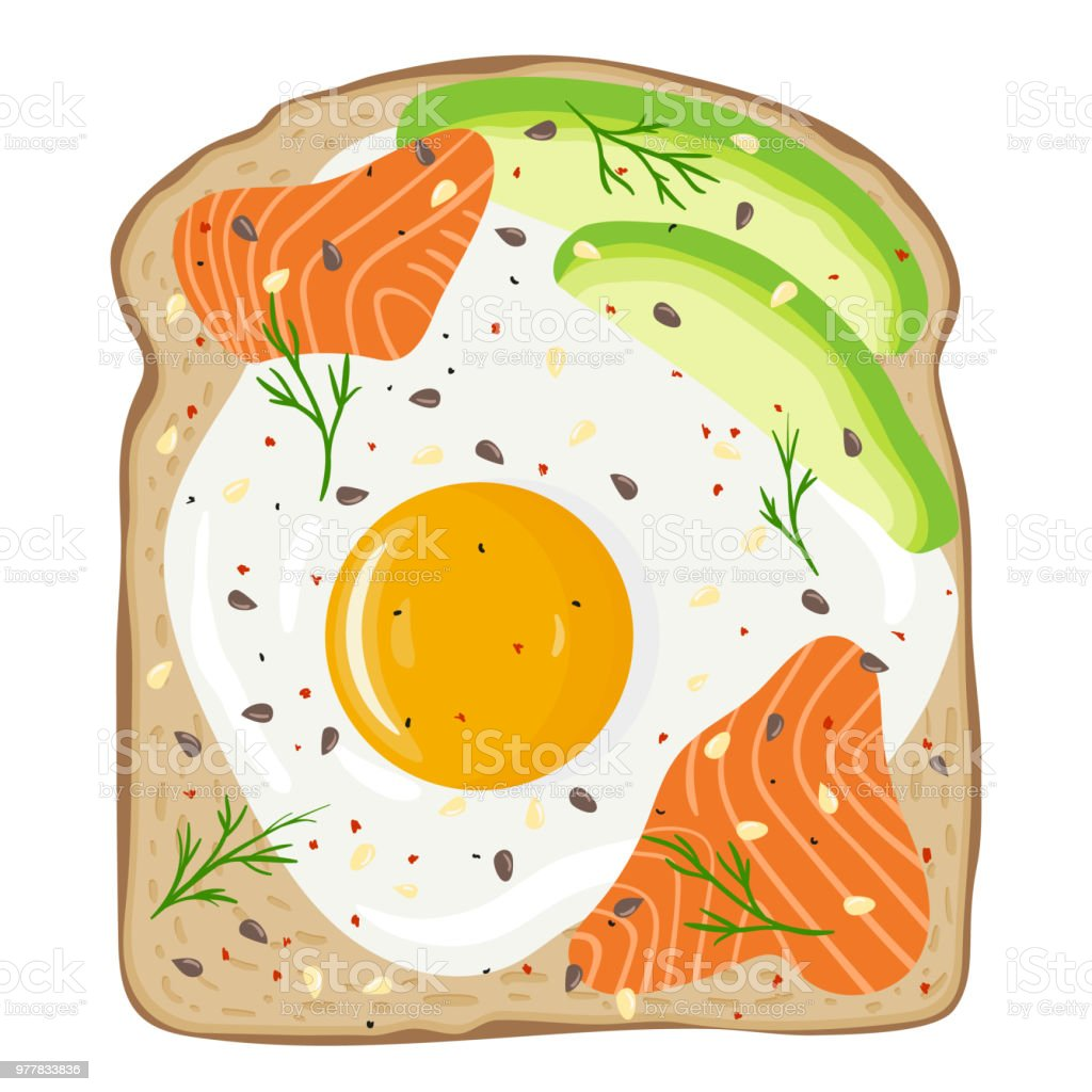 Fried egg with salmon and avocado on toast bread. Delicious egg and lox sandwich. Vector illustration. vector art illustration