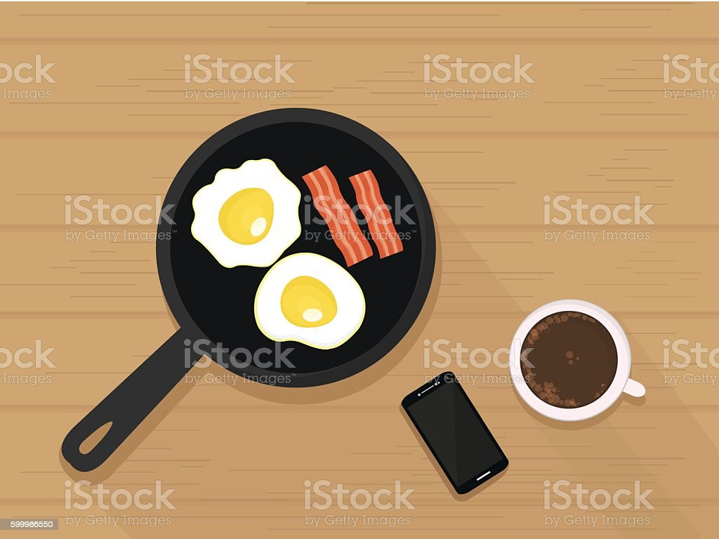 Fried Eggs and Bacon, Coffee,Phone on table. Vector Illustration vector art illustration