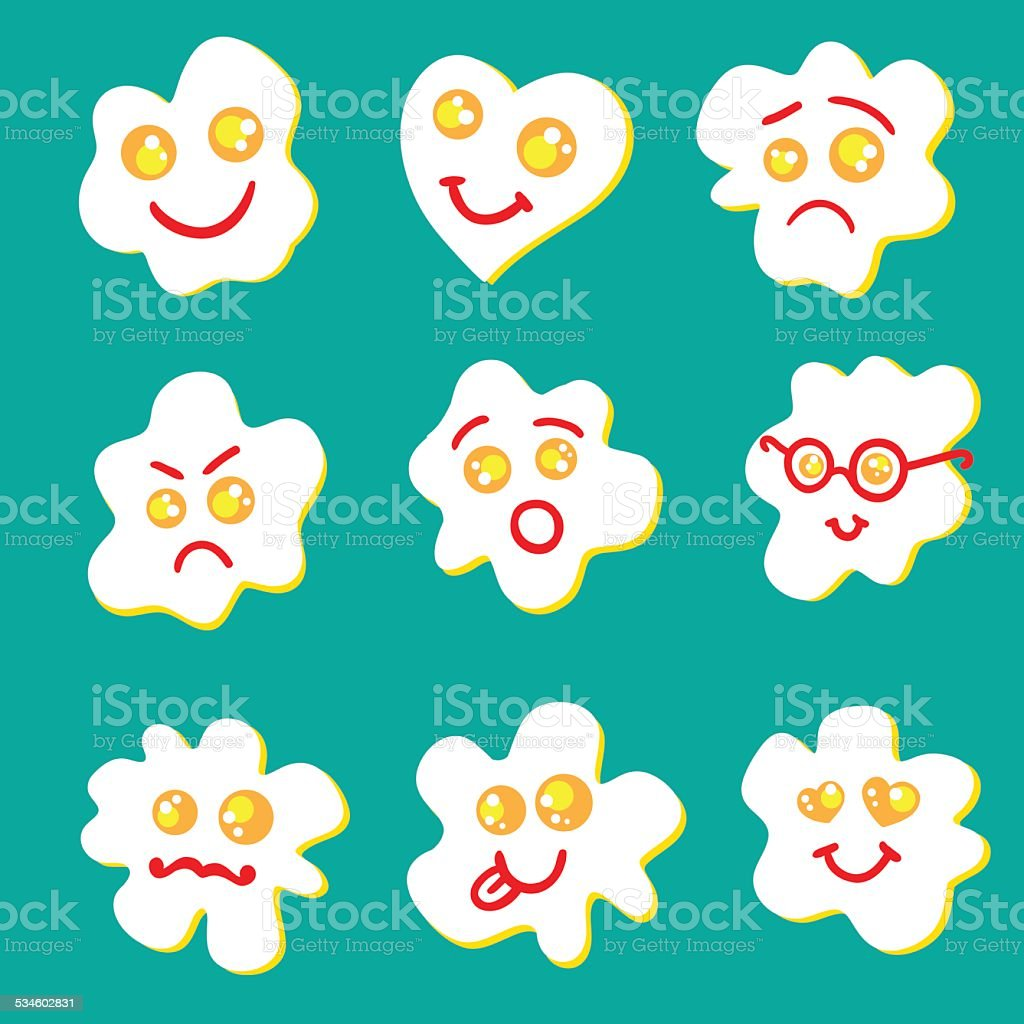 Fried eggs emoticon vector art illustration