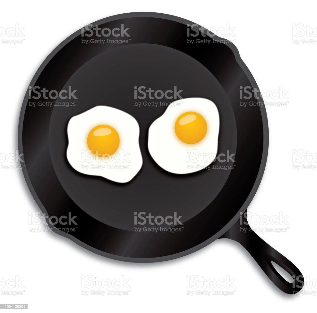 Sartén de hierro huevos fritos - ilustración de arte vectorial