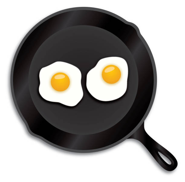 Fried Eggs Iron Skillet Vector illustration of an iron skillet with two fried eggs in it. frying pan stock illustrations