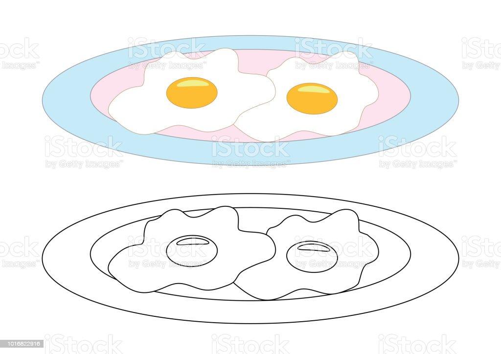 Ilustración De Huevos Fritos En Un Plato Página Para Colorear