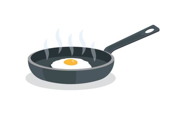fried eggs on pan with handle fried eggs on pan with handle, isolated on white background. Vector illustration frying pan stock illustrations