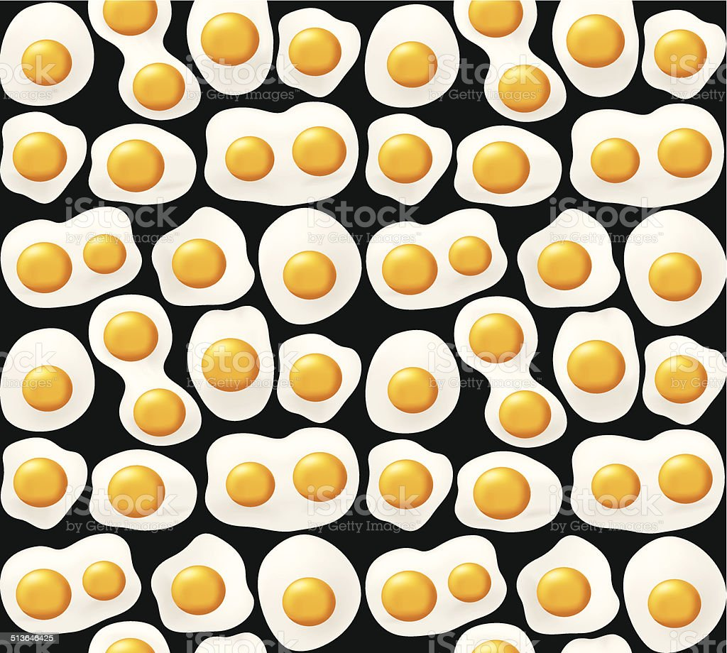 Fried eggs. Seamless background vector art illustration