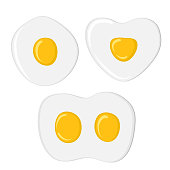 Fried eggs set. Isolated eggs on white background. Healthy nutritious breakfast. Yolk and white.