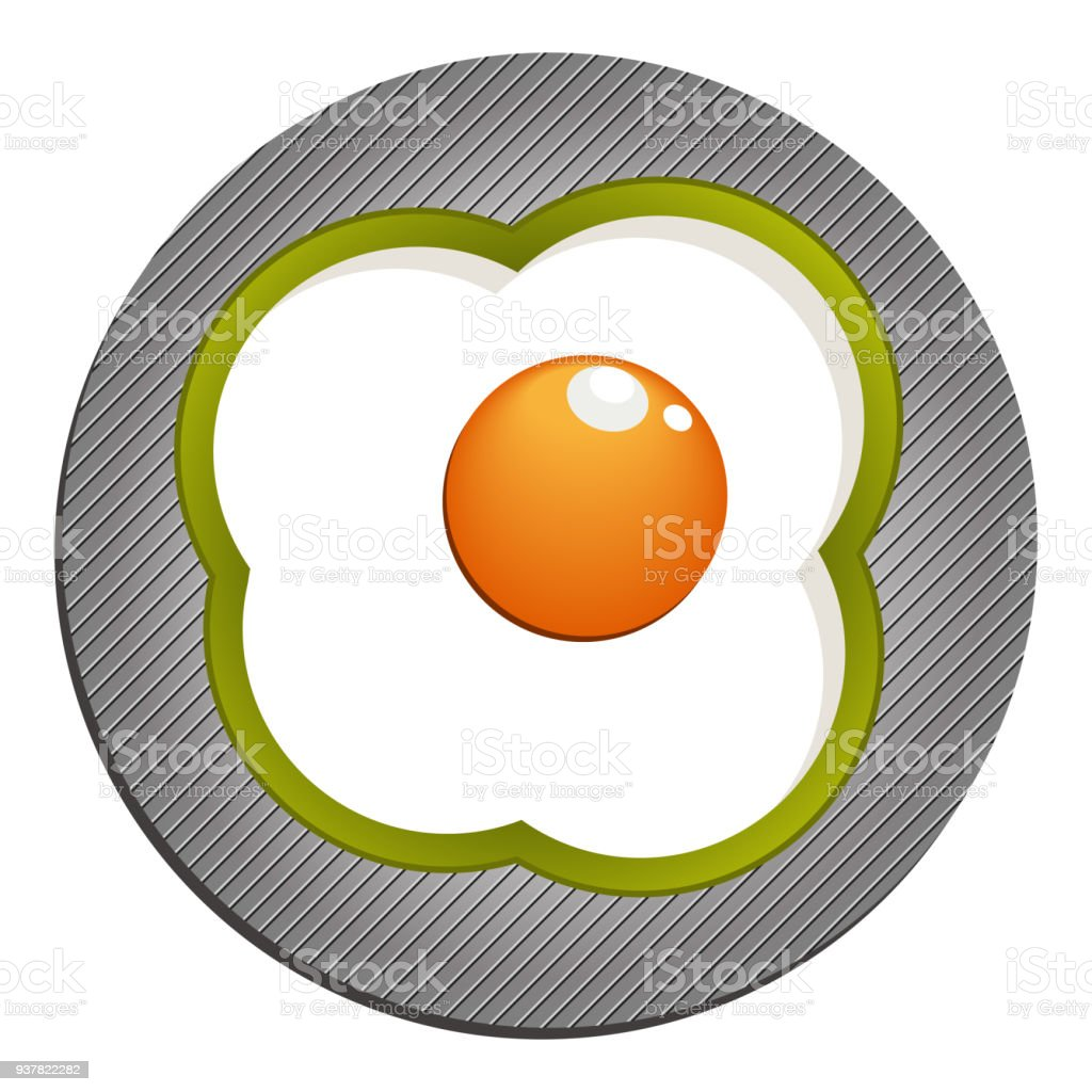 Fried eggs with green paprika. Fried eggs with pepper vector art illustration