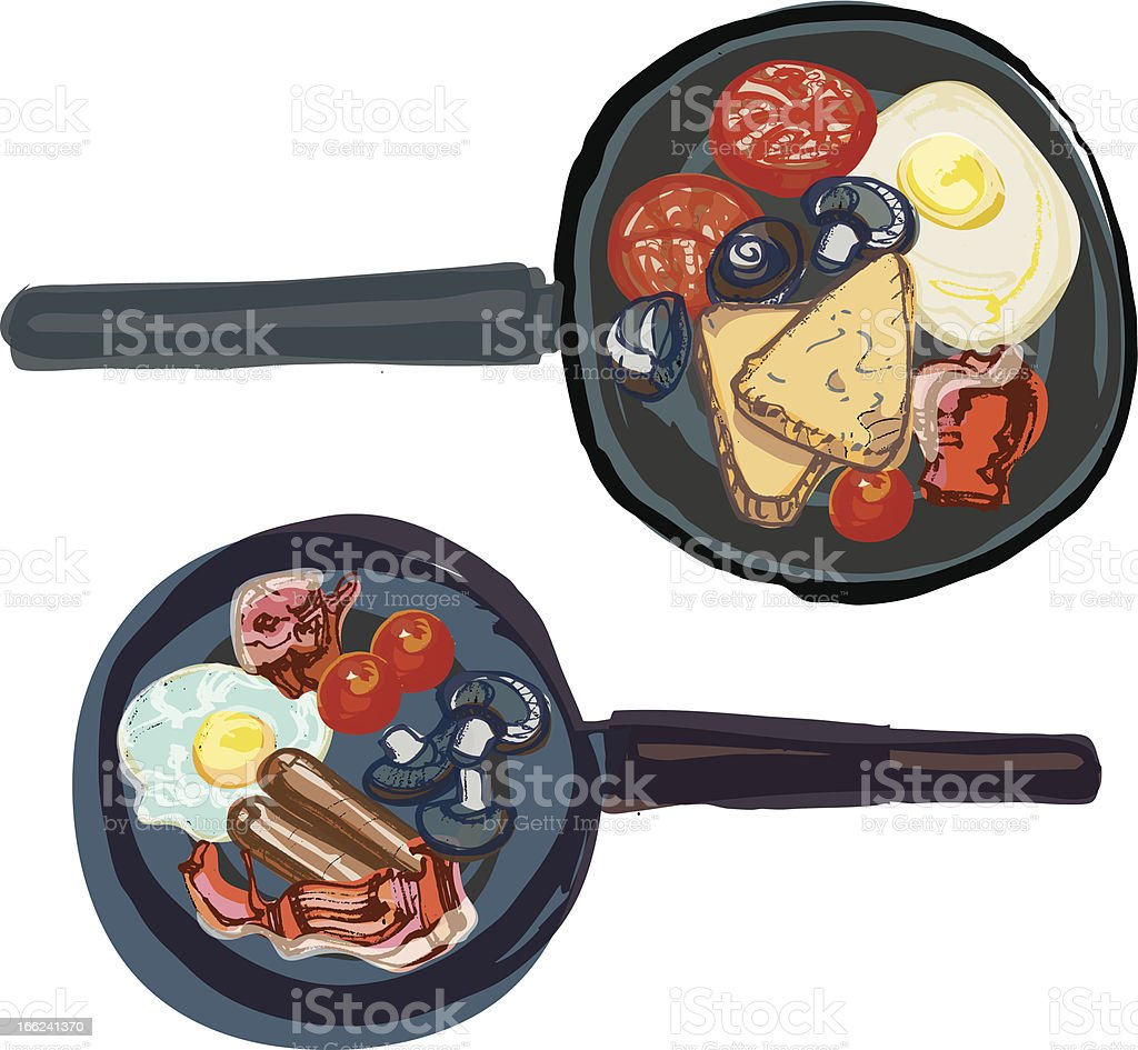 Fried English Breakfast Cooking in Frying Pans vector art illustration