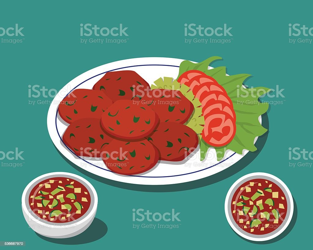 Fried fish cake in Traditional Thai food with sauce vector art illustration