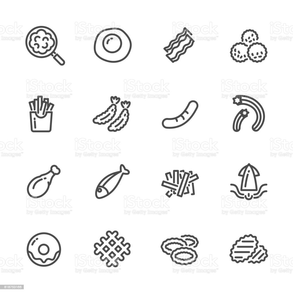 Fried foods and high fat foods leads to obesity. Vector line icons vector art illustration