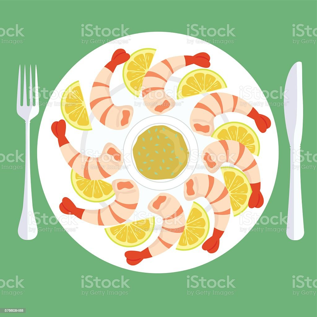 Fried King Prawn shrimp with lemon with sauce vector art illustration
