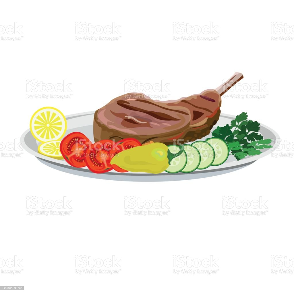 Fried ribs with vegetables vector art illustration