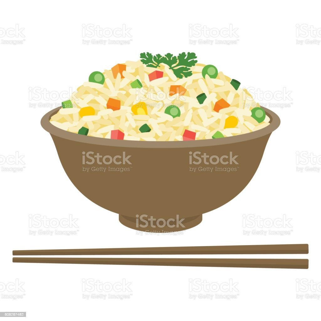 Fried rice in bowl with chopsticks vector art illustration
