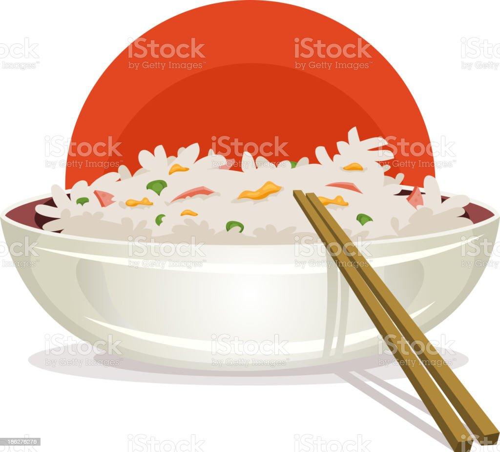 Fried Rice With Asian Chopsticks vector art illustration