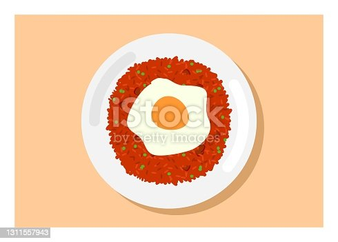 istock Fried rice with fried egg topping. Top view. Simple flat illustration. 1311557943