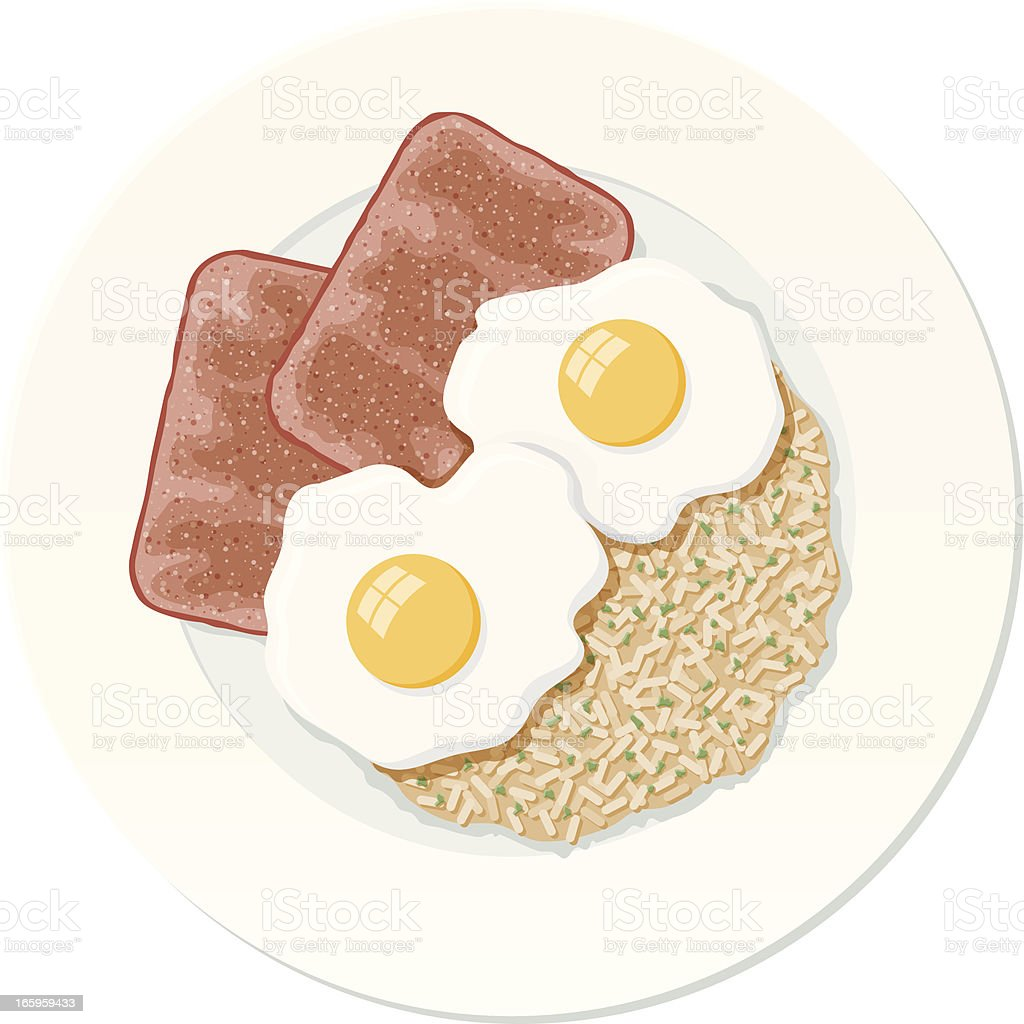 Fried Spiced Ham with Eggs and Rice vector art illustration