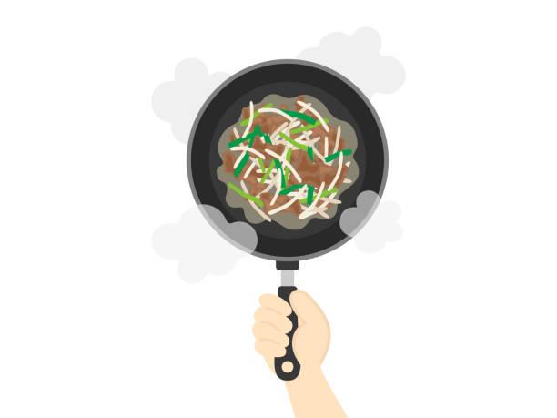 ilustrações de stock, clip art, desenhos animados e ícones de fried vegetables - burned cooking