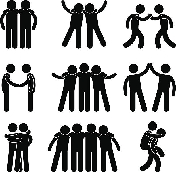 stockillustraties, clipart, cartoons en iconen met friend friendship teammate pictogram - omhelzen