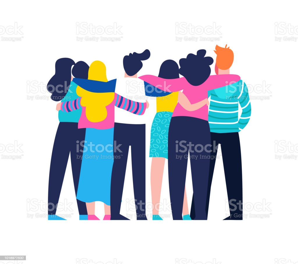 Friend group hug of diverse people isolated royalty-free friend group hug of diverse people isolated stock illustration - download image now