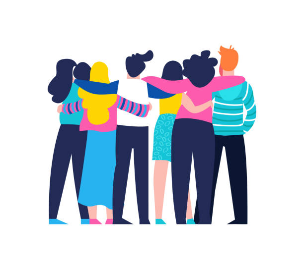 Friend group hug of diverse people isolated Diverse friend group of people hugging together for special event celebration. Girls and boys team hug on isolated background with copy space. EPS10 vector. happy family stock illustrations