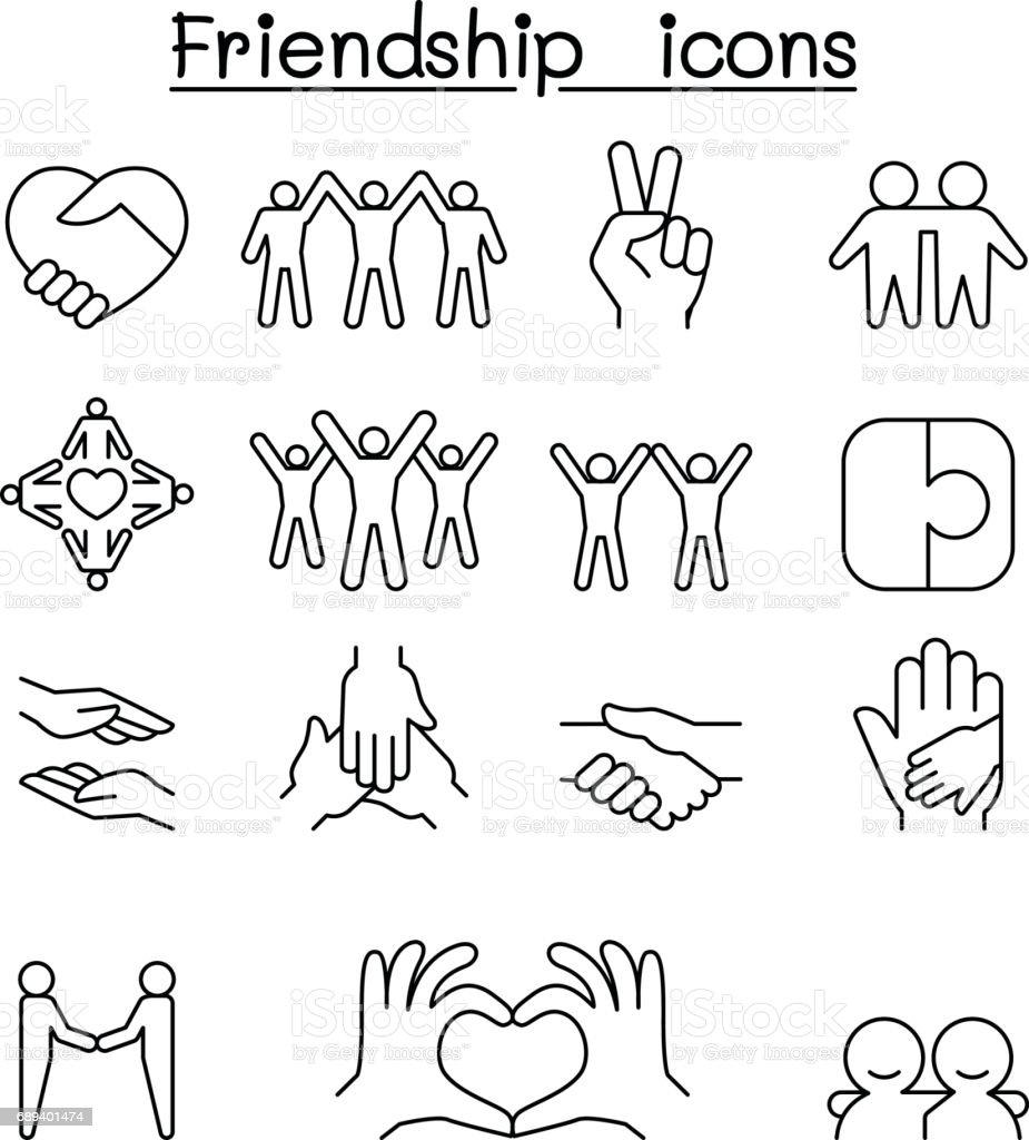 Icono de amigo y la armonía en el estilo de línea fina - ilustración de arte vectorial