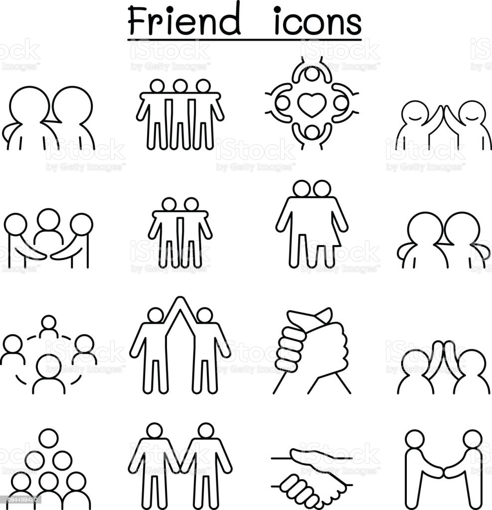 Friend & Harmony icon set in thin line style - illustrazione arte vettoriale