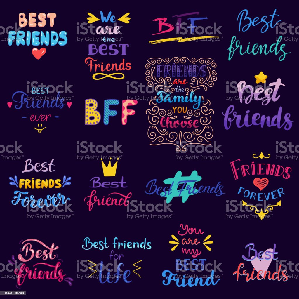 Friend lettering vector BFF friendship card typography and frien vector art illustration