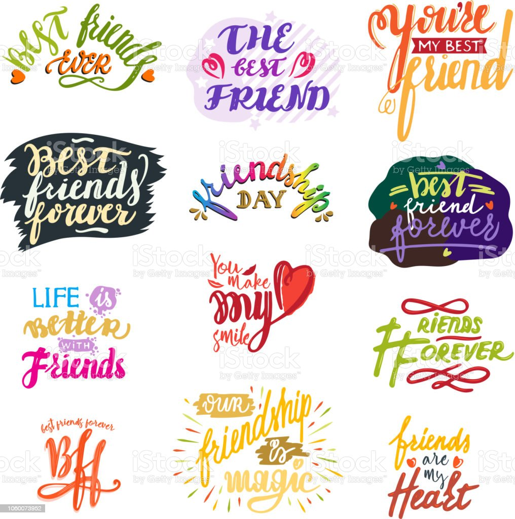 Friend lettering vector friendship card typography and friendly vector art illustration