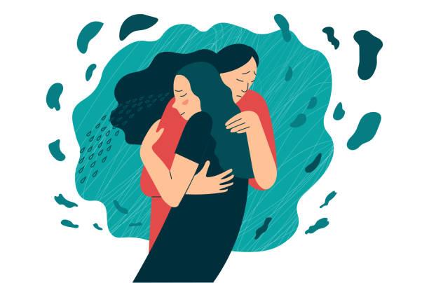bildbanksillustrationer, clip art samt tecknat material och ikoner med vän eller mamma stöder i stress eller depression. kramar som ett sätt att stödja och visa kärlek och medkänsla. - emotionellt stöd