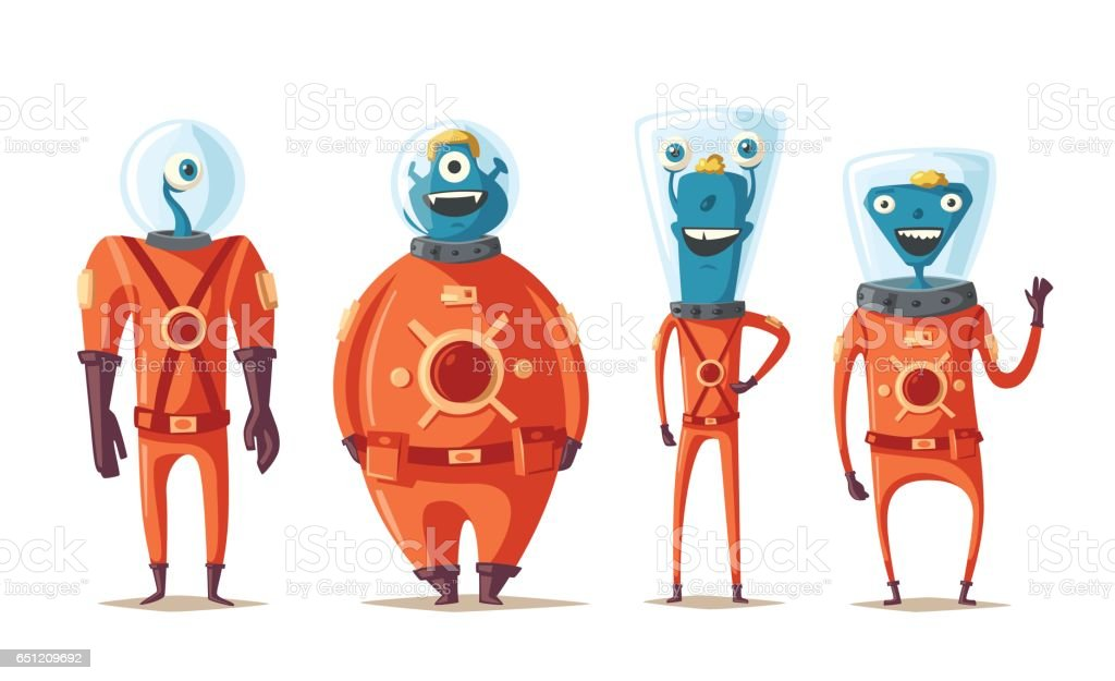 Friendly aliens. Cartoon vector illustration vector art illustration