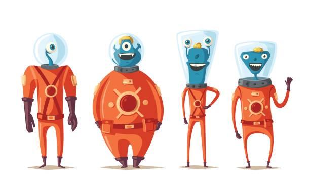 stockillustraties, clipart, cartoons en iconen met vriendelijke aliens. cartoon vectorillustratie - buitenaards wezen