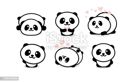 Friendly and cute pandas set. Chinese bear icons set. Cartoon panda logo template collection. Isolated vector illustration.