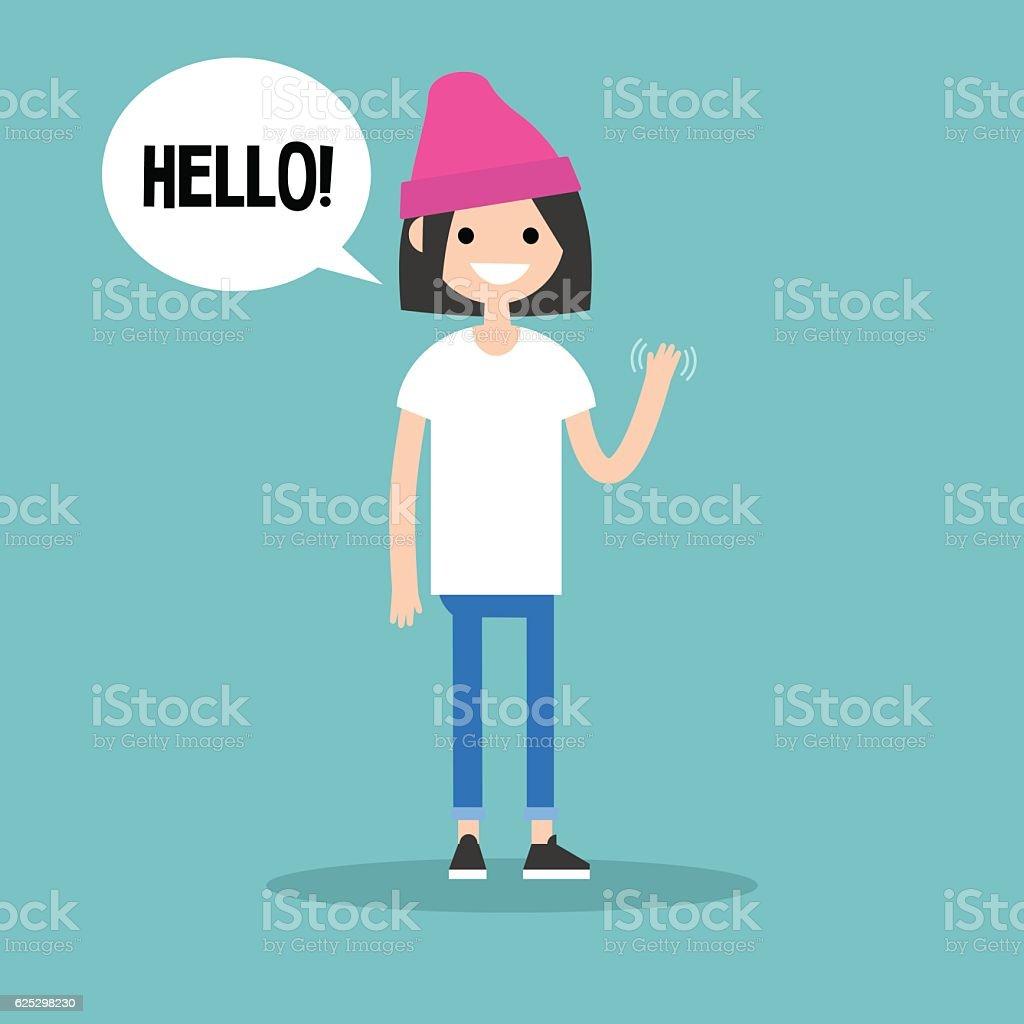 Friendly brunette girl saying 'Hello' and waving hand vector art illustration