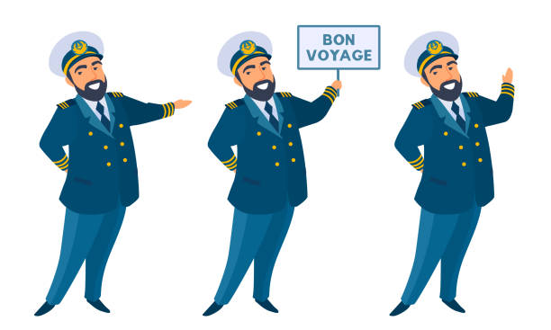 Friendly captain welcomes, invites, holding banner with text, smiling. The kind bearded man waving, pointing his hand. seyahat noktaları illustrationsları stock illustrations