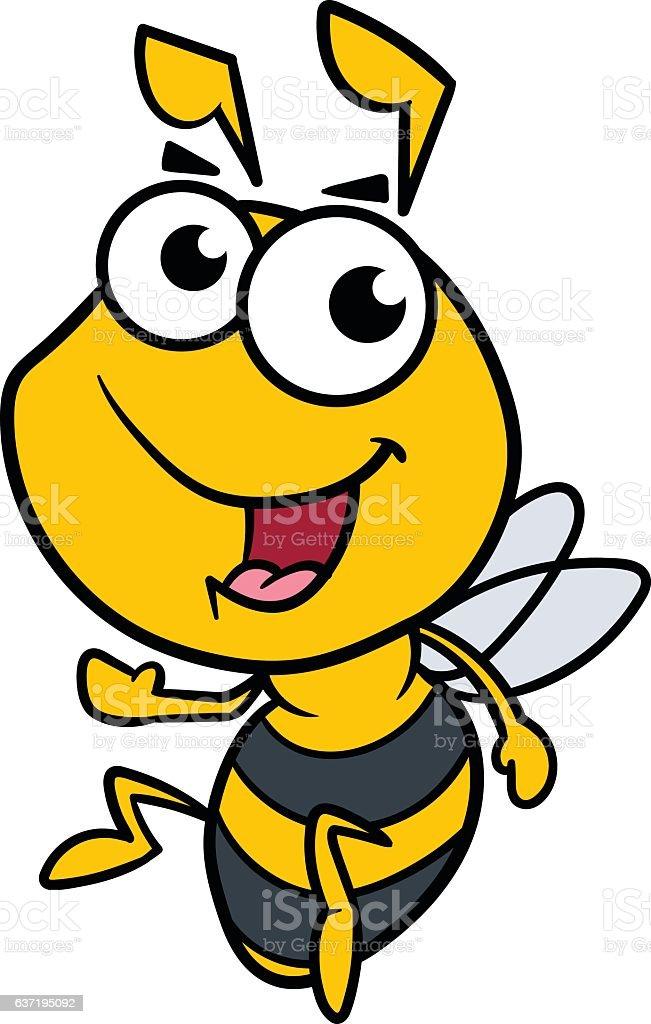 Friendly Cartoon Bee Vector Illustration vector art illustration