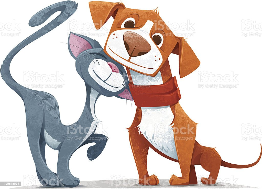 Friendly cartoon cat and dog on a white backdrop vector art illustration
