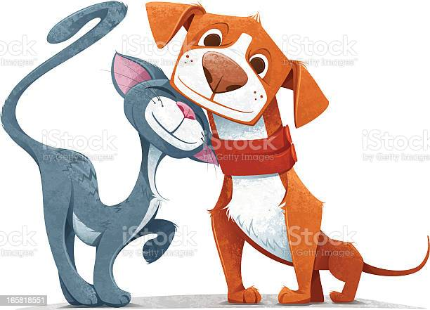 Friendly Cartoon Cat And Dog On A White Backdrop Stock Illustration - Download Image Now