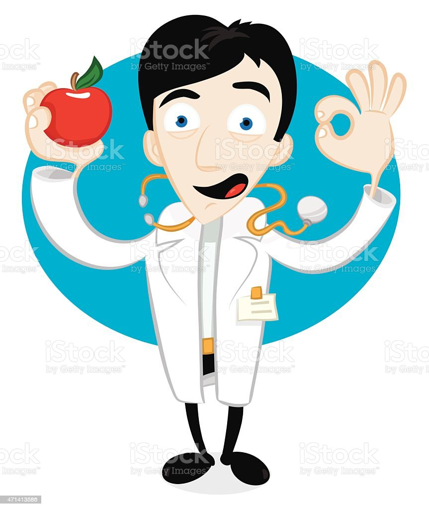 friendly cartoon doctor holding a red apple and cheering stock