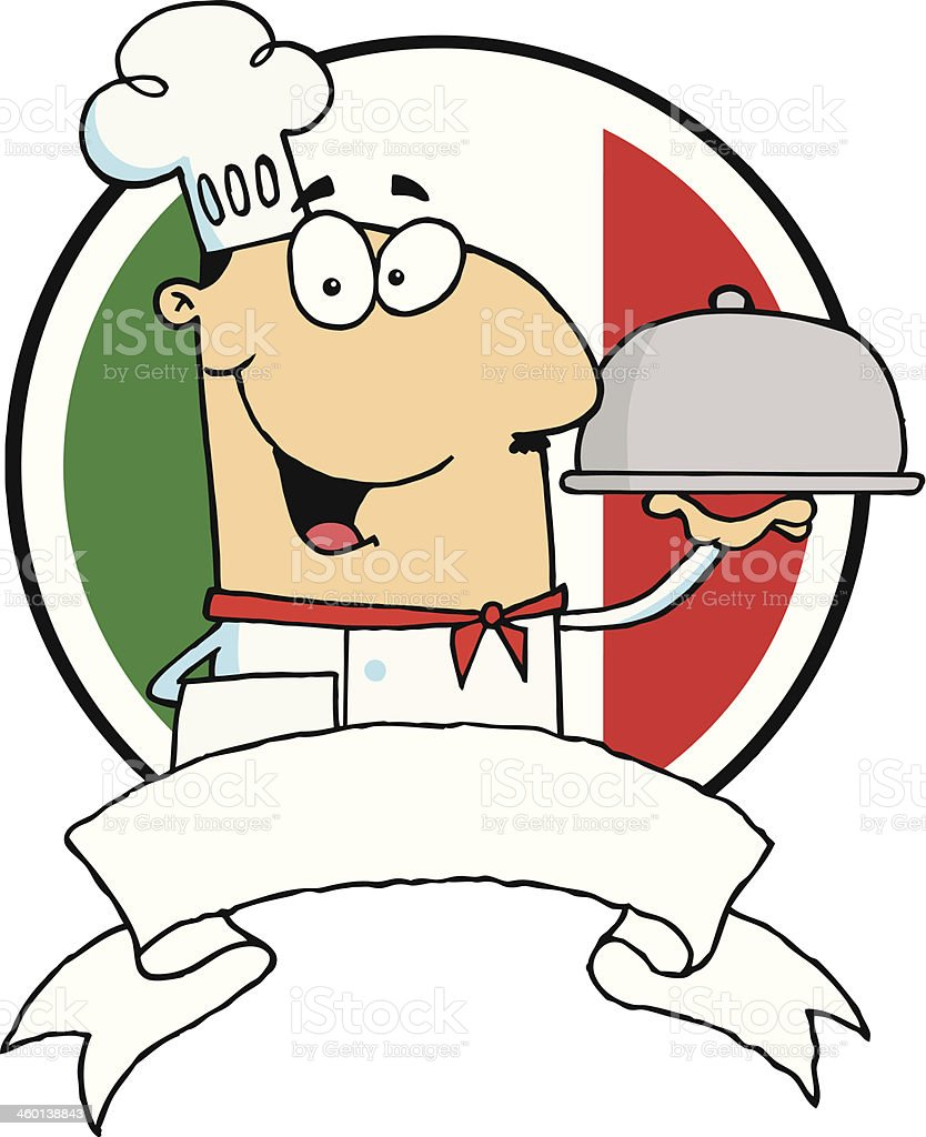 Friendly Chef Holding A Silver Platter royalty-free stock vector art