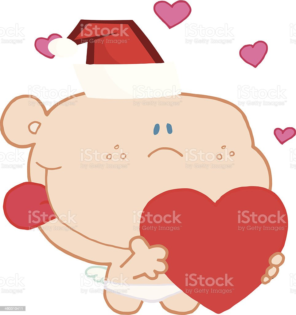 Friendly Cupid Holding A Heart royalty-free stock vector art